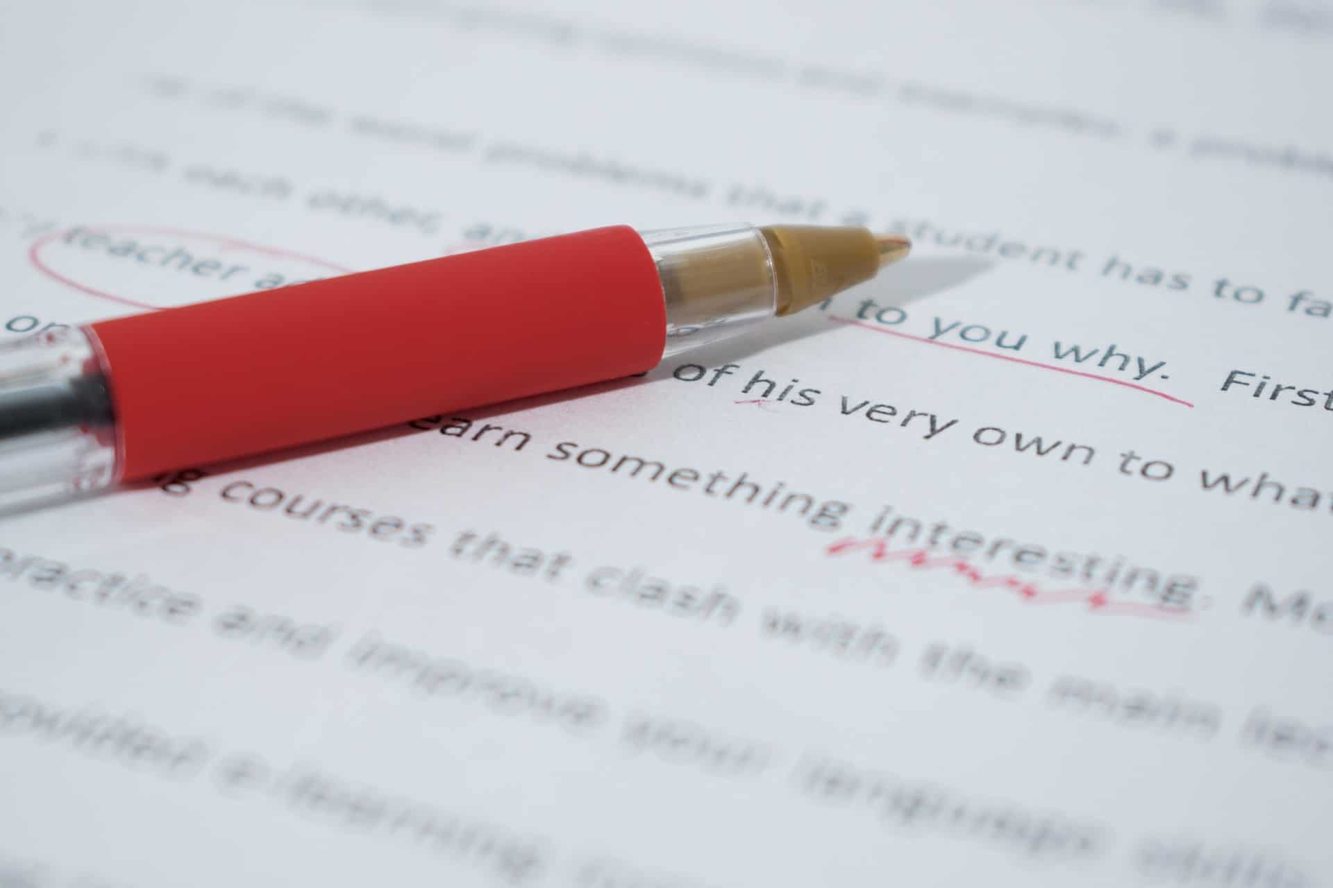 article proofread with a red pen