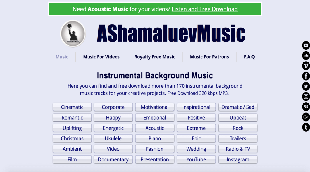 screenshot of AShamaluevMusic hompeage