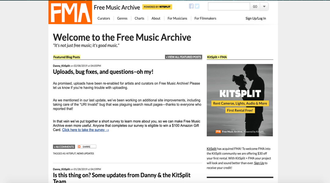 Screenshot of Free Music Archive homepage