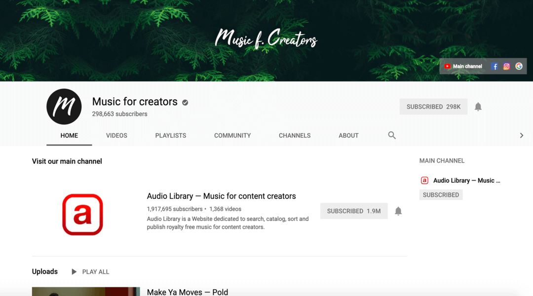 screenshot of music for creators homepage