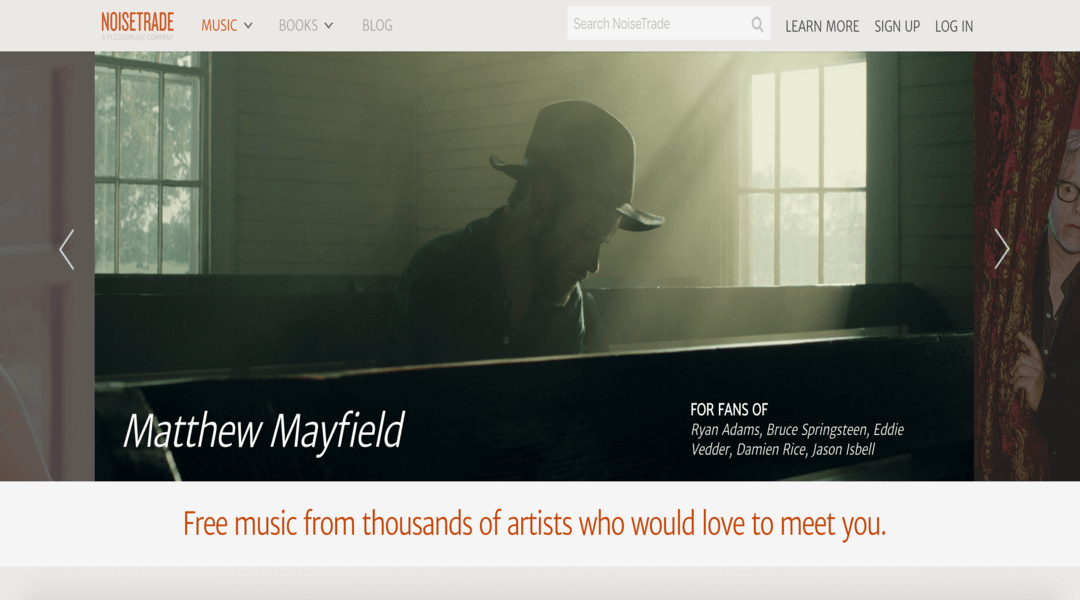 Screenshot of NoiseTrade Homepage