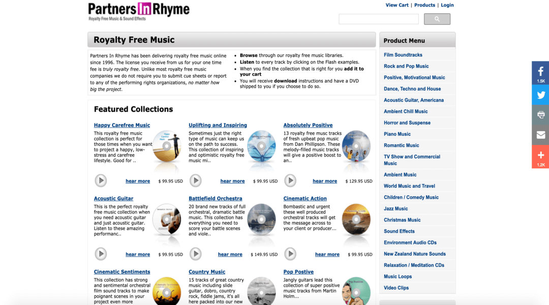 Screenshot of Partners in Rhyme homepage