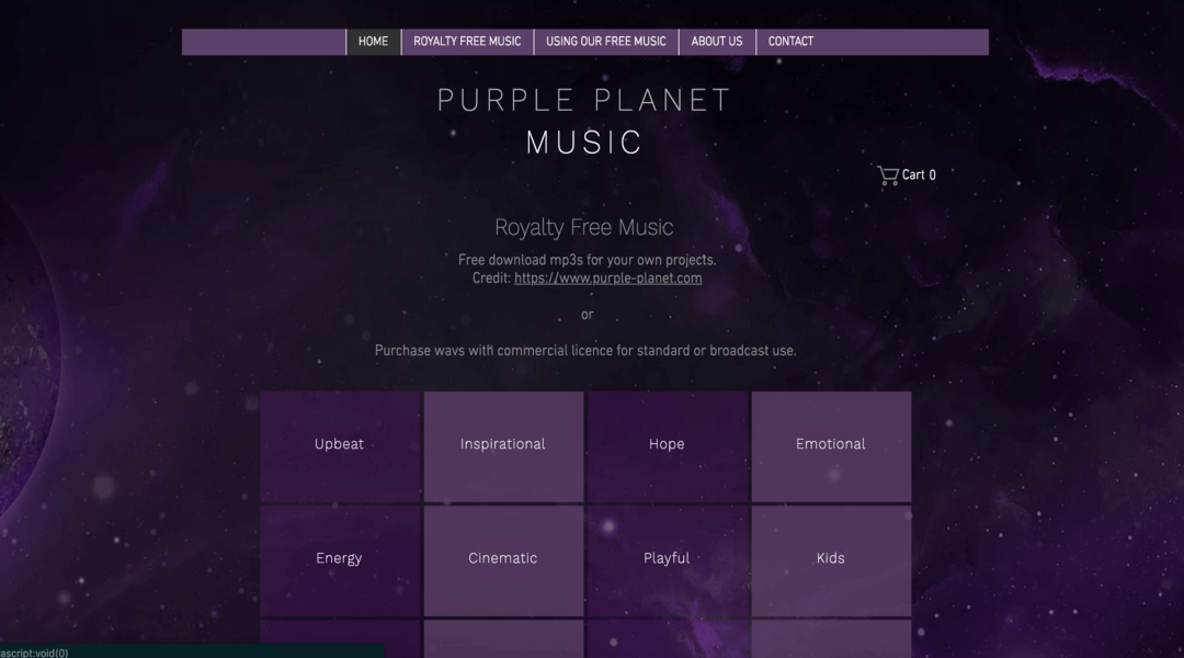 Screenshot of Purple Planet homepage
