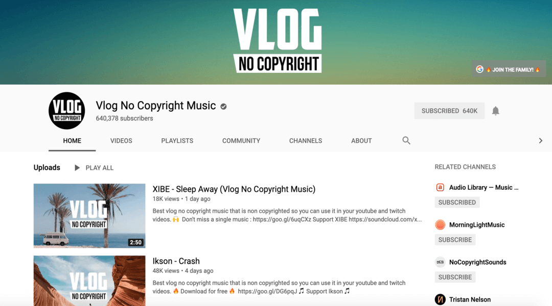 screenshot of vlog homepage