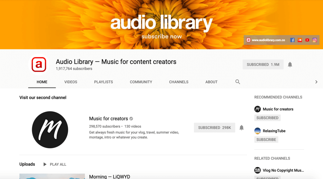 Screenshot of audio library on YouTube