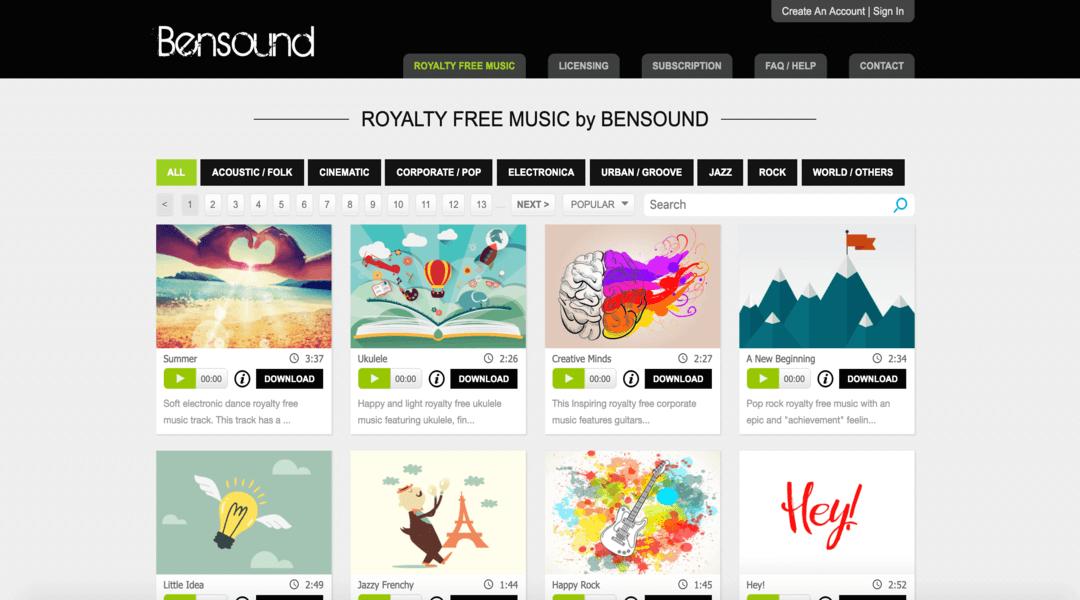 screenshot of BenSound homepage