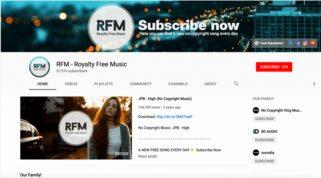 screenshot of rfm (royalty free music) homepage