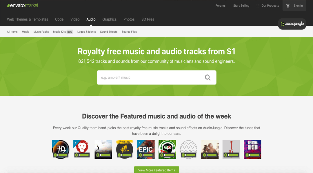 screenshot of audio jungle homepage