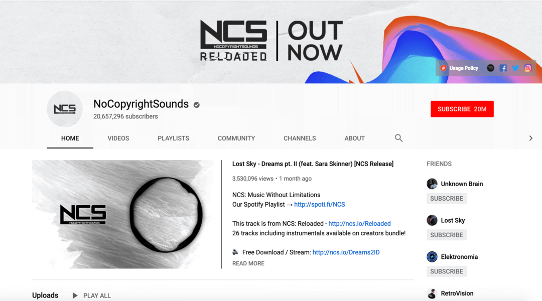 screenshot of no copyright sounds homepage