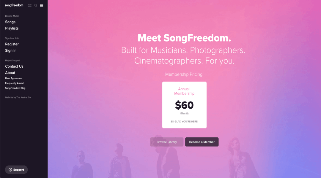 screenshot of song freedom homepage