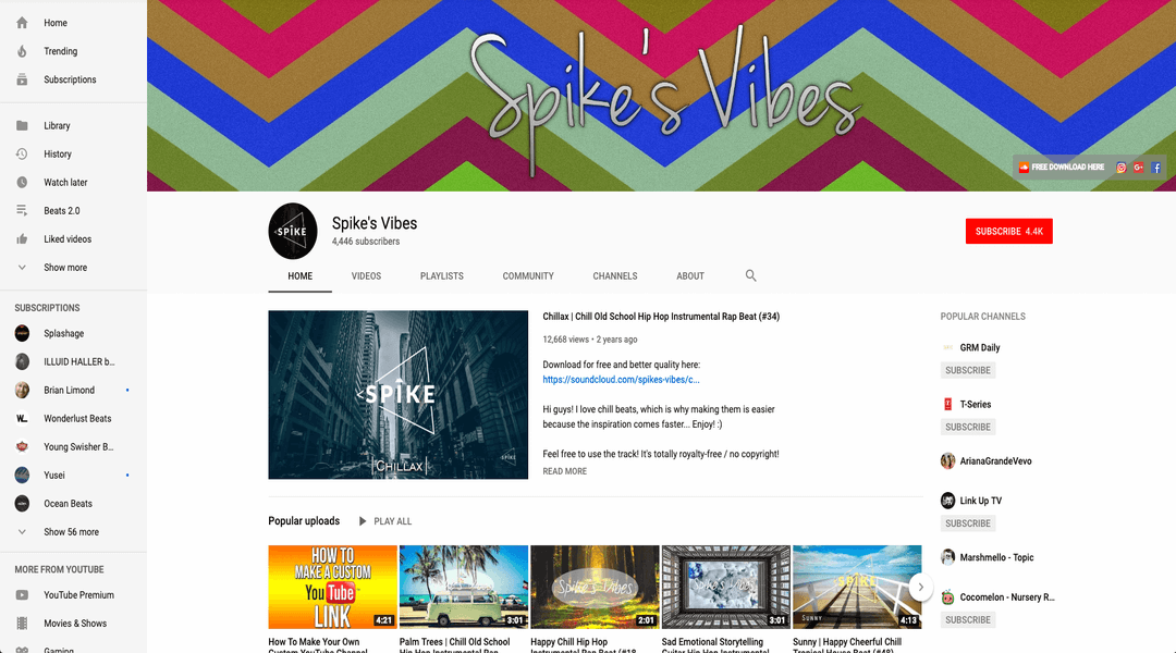 screenshot of spikes vibes homepage