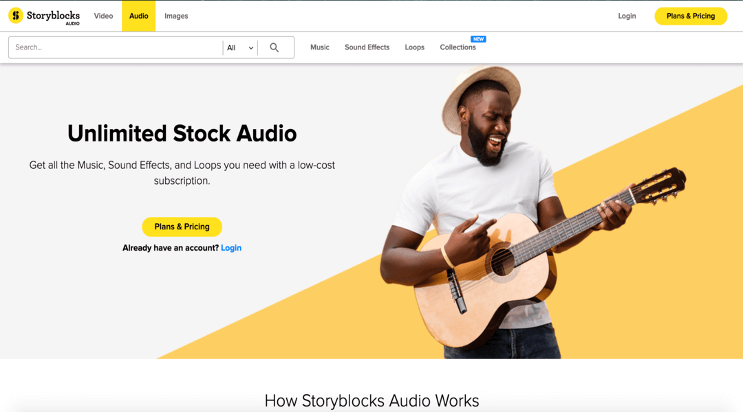 screenshot of StoryBlocks homepage