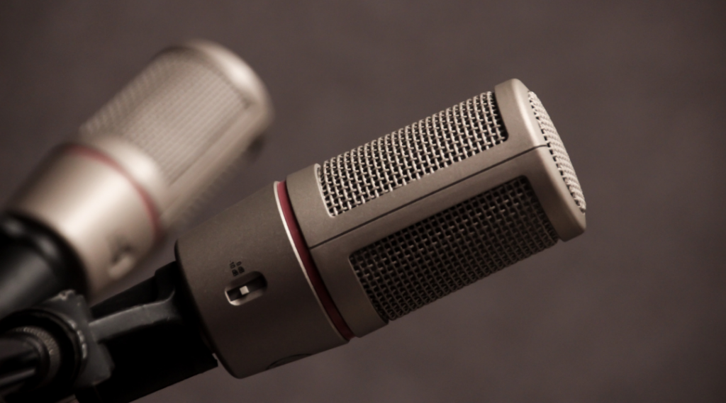 close up of podcast microphones