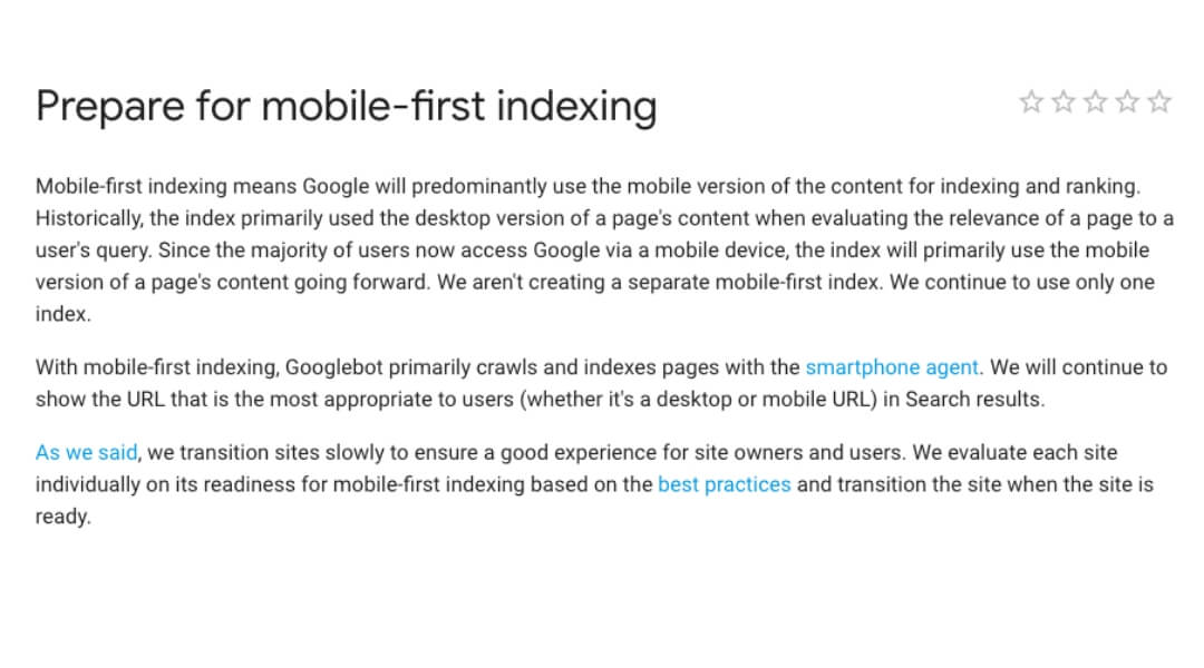 screenshot of google explaining mobile first indexing