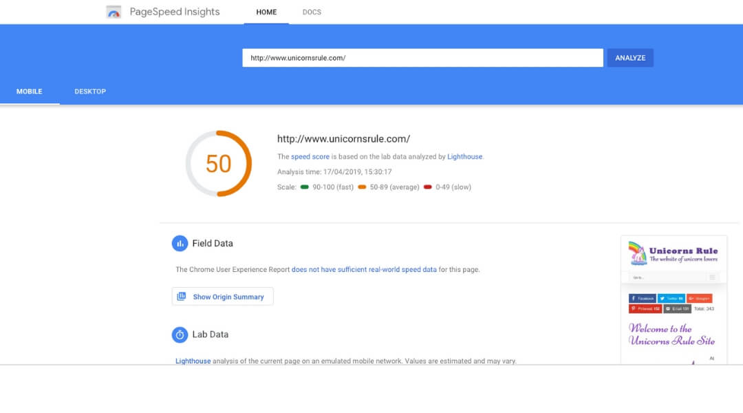 screenshot of google page insights