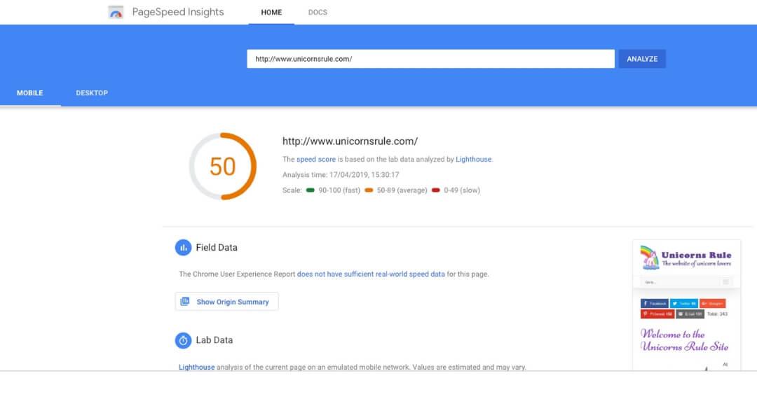 screenshot of google page insights