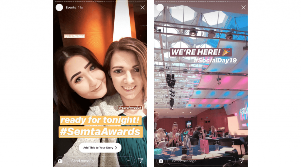 Screenshots of LikeMind Media's Instagram Stories showing that the team attended Semta Awards and Social Day.