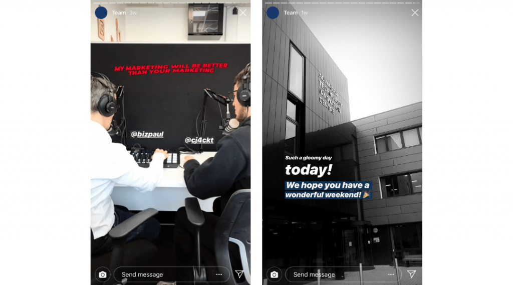 Screenshots of LikeMind Media's Instagram Stories showing Paul and Charlie recording a podcast in the office as well as the exterior of the office building.