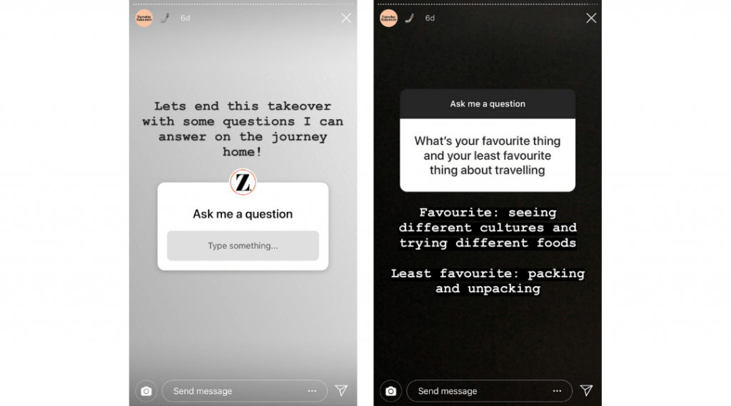 Screenshots of Zoella's Instagram Stories showing the Instagram question sticker to ask questions and answer them.