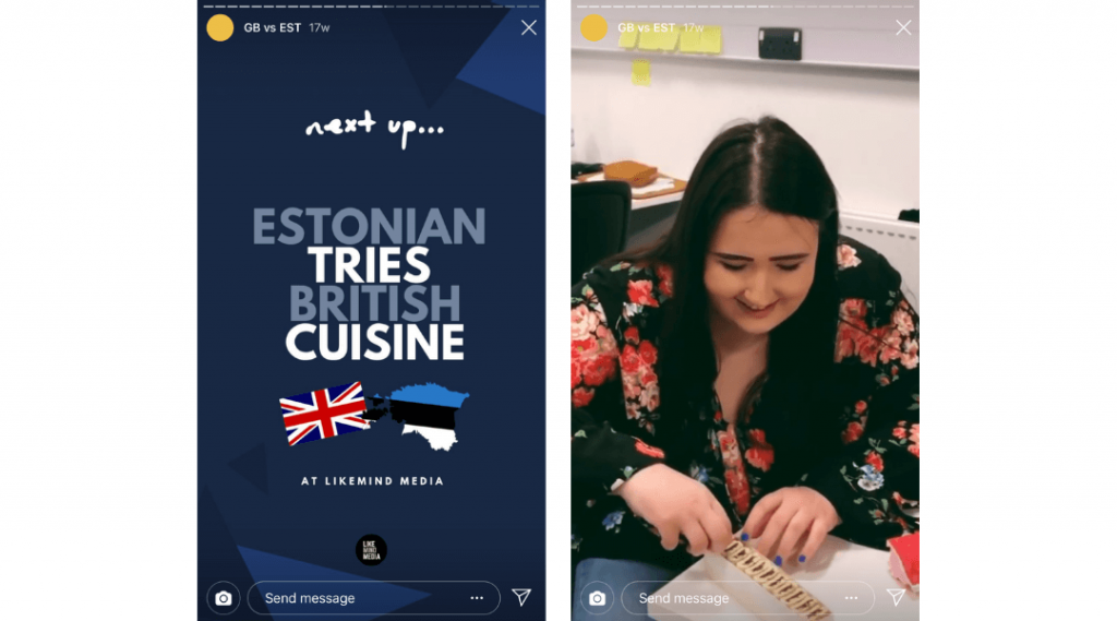 Screenshots of an episode of LikeMind Media's Instagram Story series GB vs EST where Estonian content creator Helina tries British fig rolls.