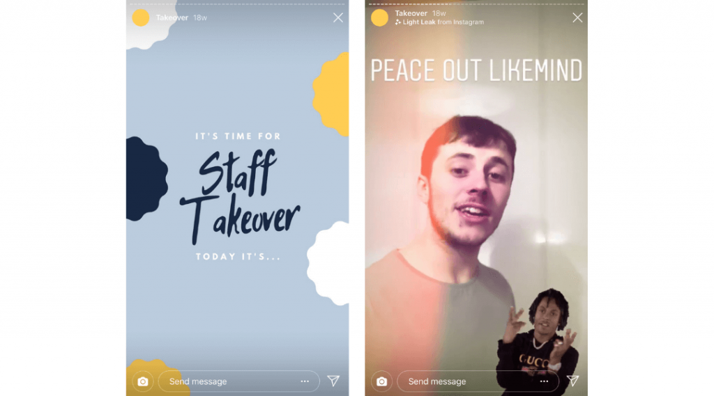 Screenshots of LikeMind Media's Instagram Stories of their Staff Takeover series hosted by content creator Charlie Thacker.