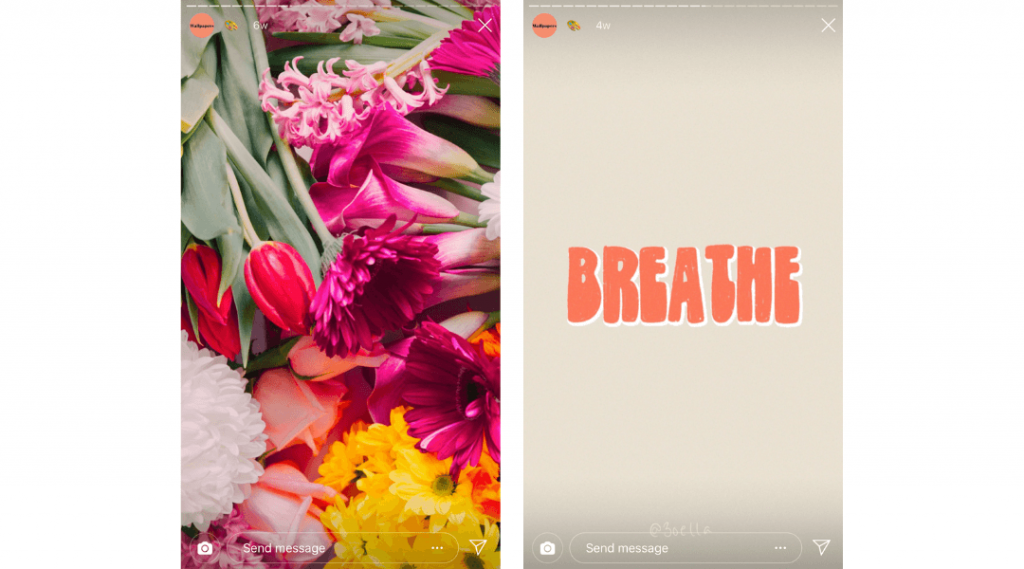 Screenshots of Zoella's Instagram Stories showing free phone wallpapers of flowers and a graphic saying 'breathe'.