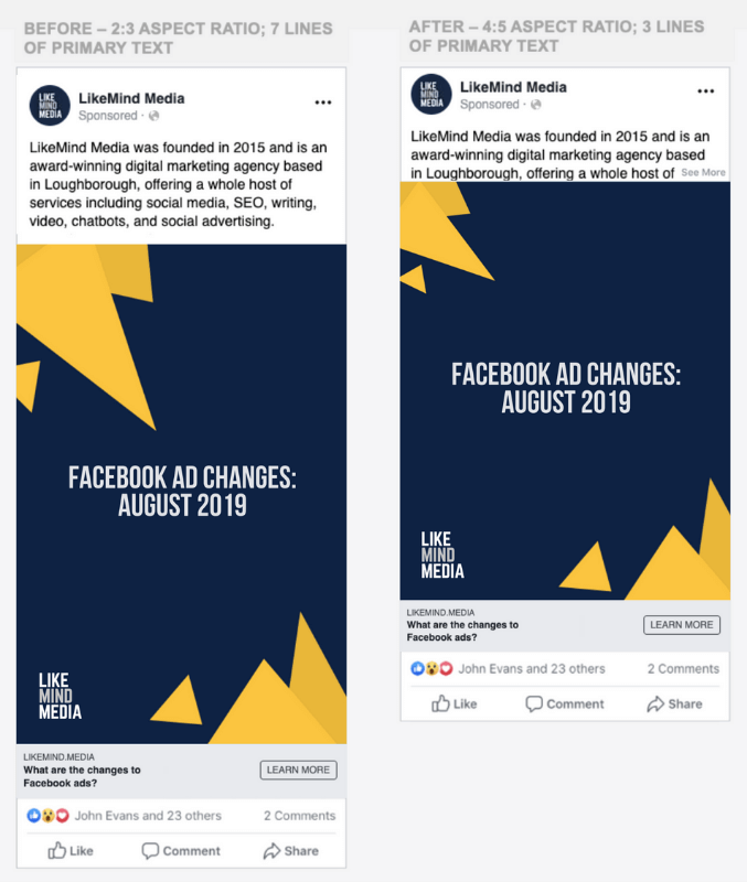 showing the Facebook ad changes for mobile
