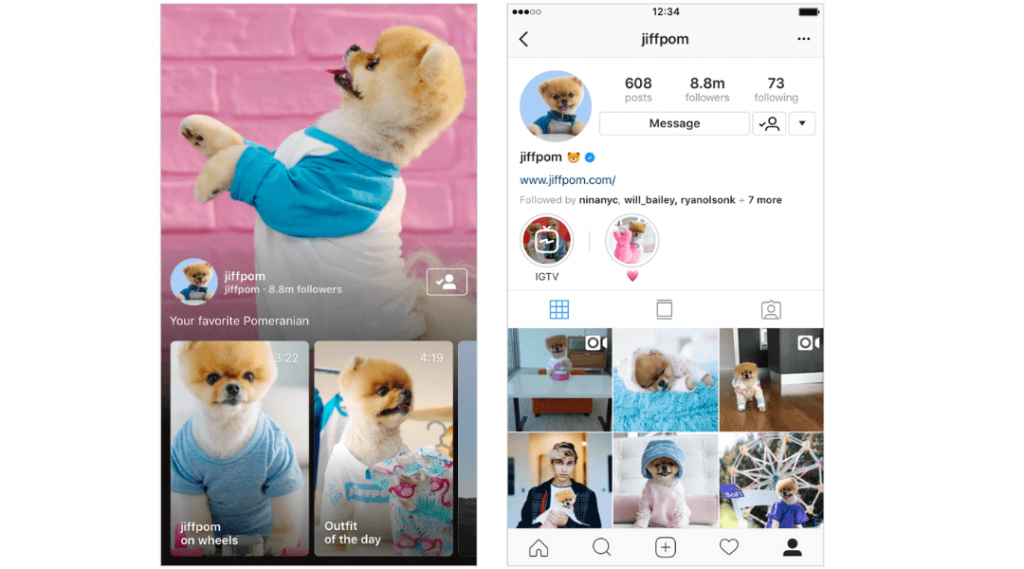 Screenshot showing IGTV videos on Instagram from jiffpom