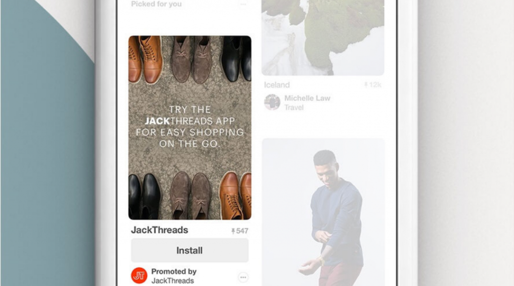 Screenshot showing a paid advertising Pinterest app pin for JackThreads