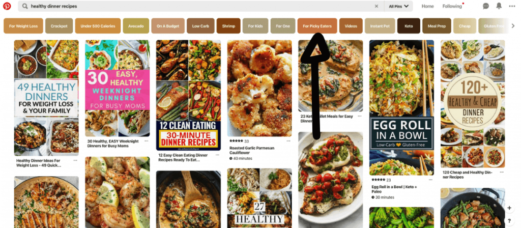 Screenshot of a Pinterest search for healthy dinner recipes showing various categories in search results