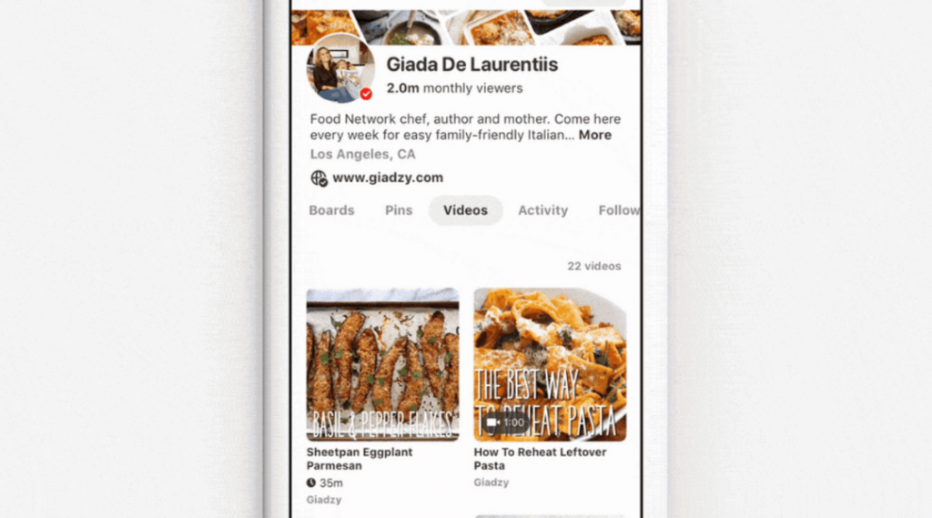 Screenshot showing the Videos feature on Pinterest