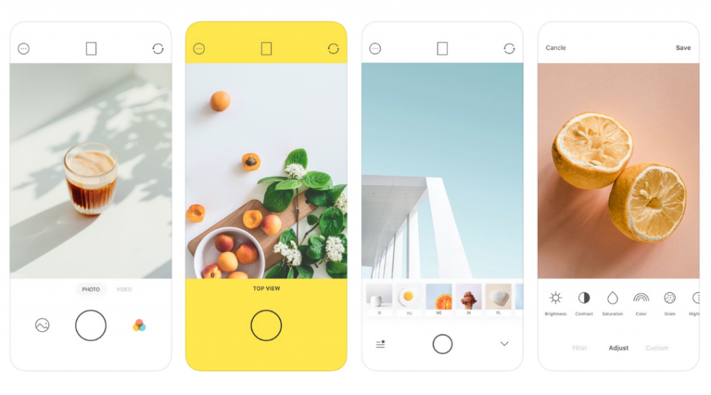 Screenshots of Foodie editing app