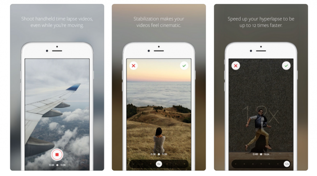 Screenshots of Hyperlapse mobile video editing app