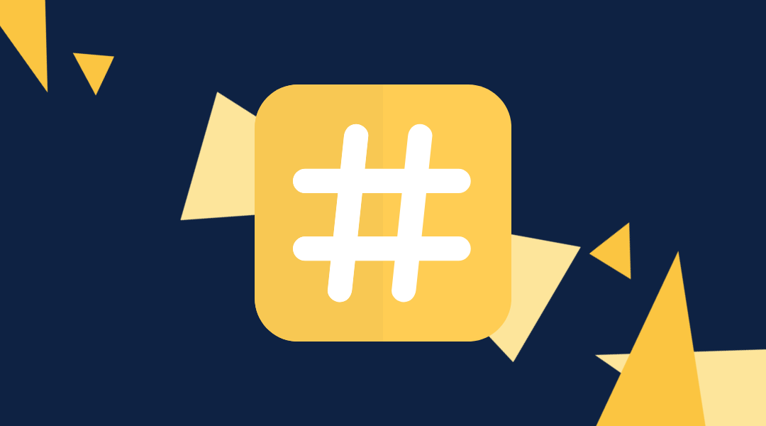 Yellow and white hashtag on blue back ground with yellow triangles