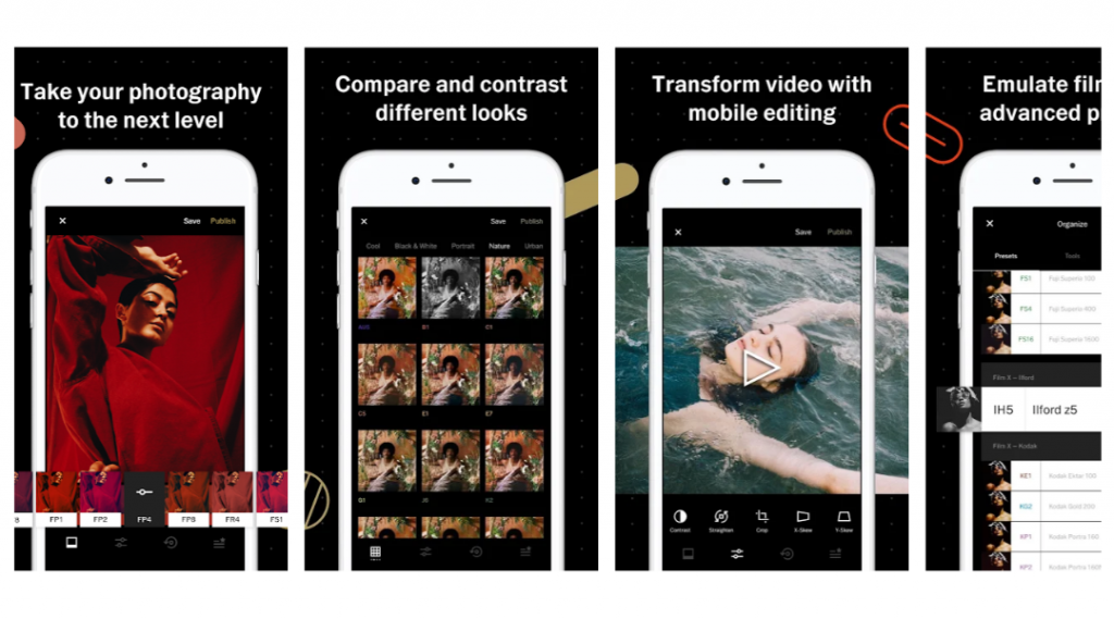 Screenshots of VSCO Editing App