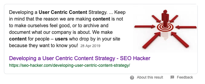 definition of user centric content from google