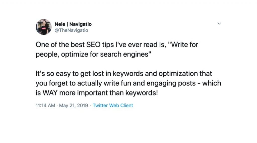 screenshot of a twitter post about keywords
