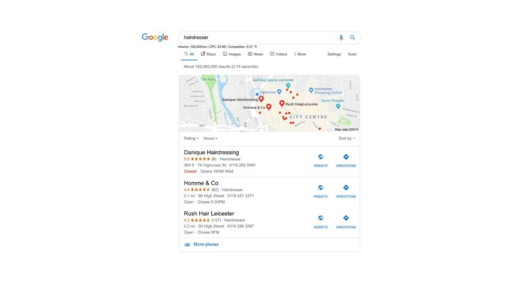 hairdresser google local 3 pack example
