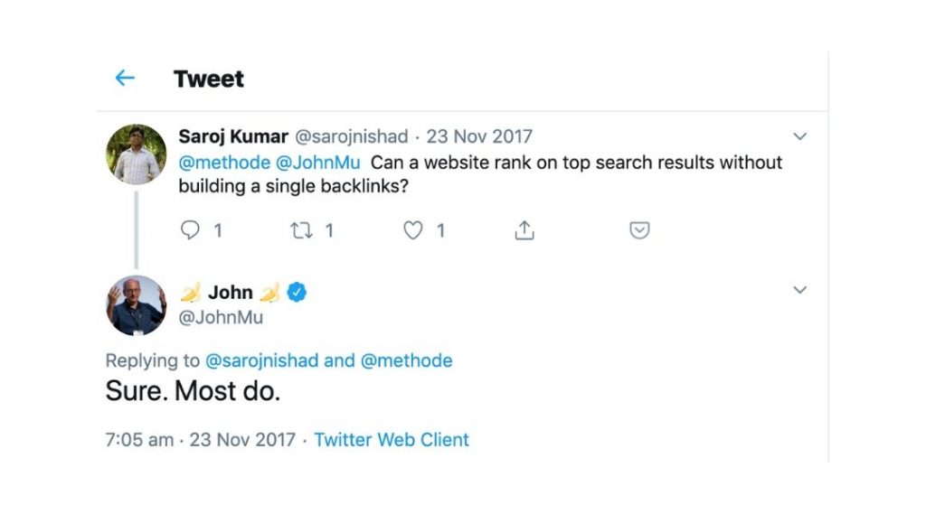 john mueller tweeting about ranking without backlinks