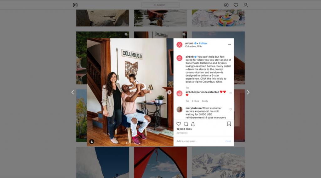 Screenshot of Airbnb's Instagram Post