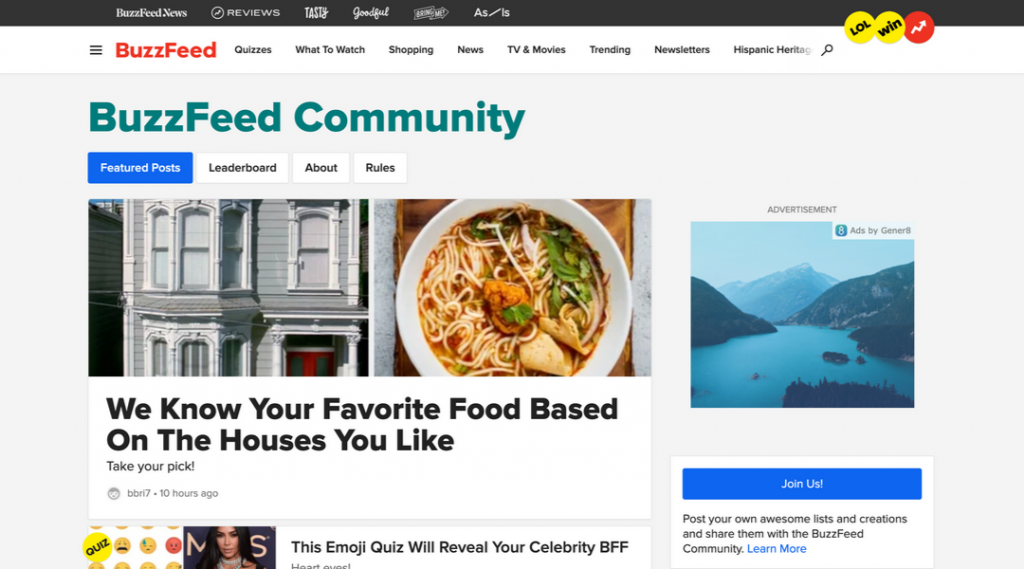 Screenshot of the BuzzFeed Community Site