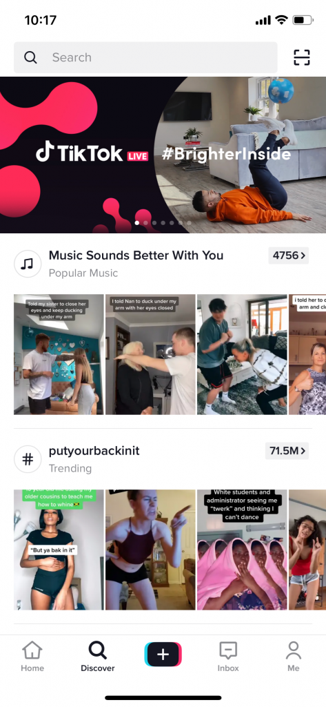 Screenshot of the discover page on TikTok