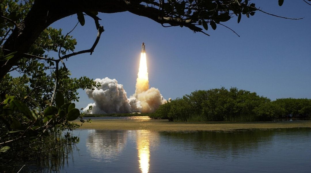 Shuttle launching in the distance