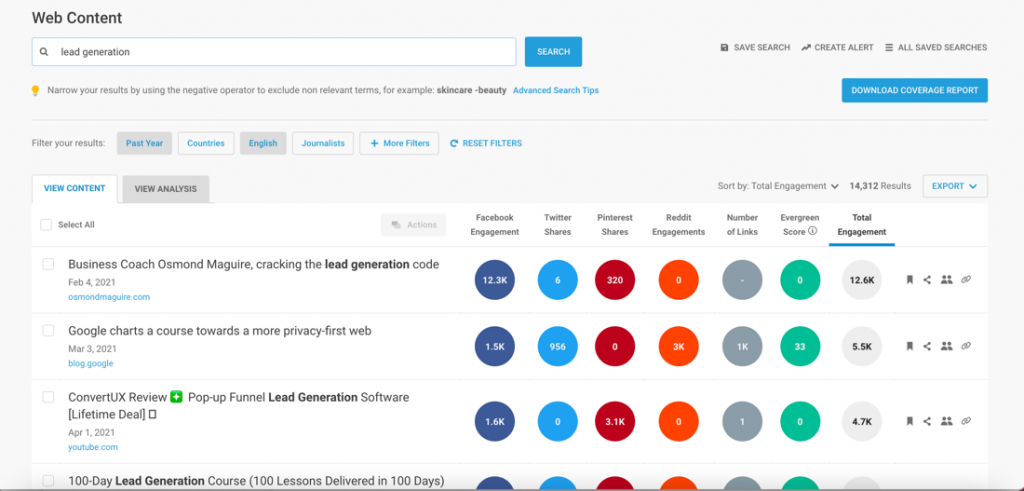 buzzsumo content analysis for lead generation