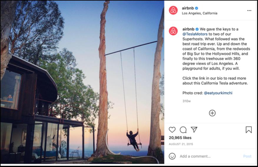 Air bnb instagram post about tesla